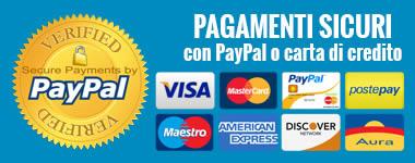 Pagamenti sicuri con PayPal e Carta di Credito su Server Sicuro con Gestpay di Banca Sella